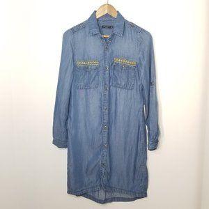 Max Jeans | Blue Chambray Long Sleeve Shirt Dress